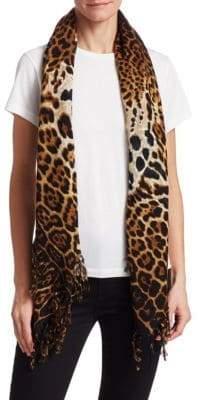 Saint Laurent Leopard Rustique Wool Scarf