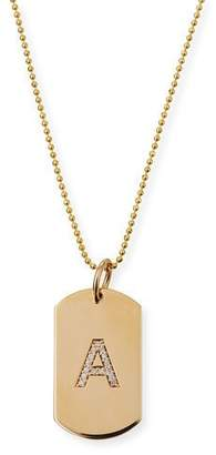 Chicco Zoe Personalized 14k Gold Pave Diamond Initial Dog Tag Necklace