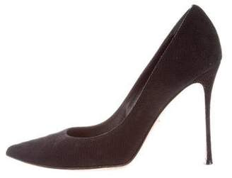 Sergio Rossi Textured Suede Pointed-Toe Pumps