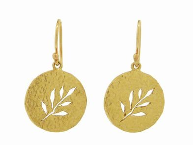 Yasuko Azuma Textured Disc Earrings with Cut Out Vines in Yellow Gold