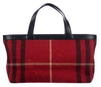 Burberry Leather-Trimmed Knit Tote