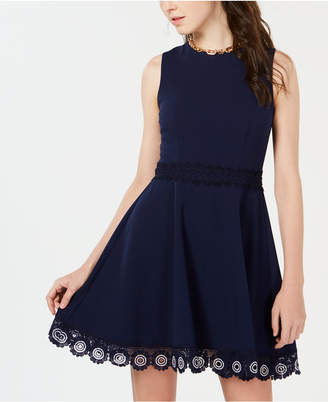B. Darlin Juniors' Crochet A-Line Dress