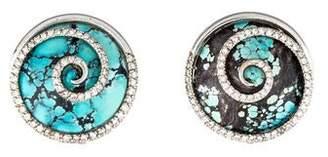 18K Turquoise & Diamond Earclips
