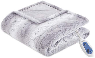 """Simmons Beauty rest Zuri Reversible Oversized 50"""" x 70"""" Heated Faux-Fur Throw Blanket Bedding"""