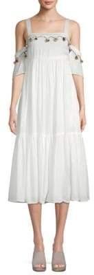 Red Carter Cedar Pom-Pom Cold-Shoulder Midi Dress