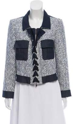 Oscar de la Renta Tweed Lace-Up Jacket Blue Tweed Lace-Up Jacket
