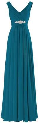 Judy Ellen Women V Neck Long Bridesmaid Dress Evening Gowns J160LF US