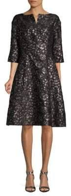 Oscar de la Renta Floral Split Neck A-Line Dress