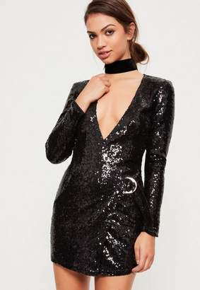 Missguided Black Sequin Plunge D Ring Wrap Dress