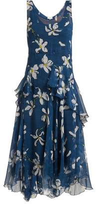 Isa Arfen Magnolia Print Silk Dress - Womens - Navy Print