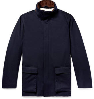 Loro Piana Winter Voyage Suede-Trimmed Storm System Baby Cashmere Field Jacket - Men - Navy