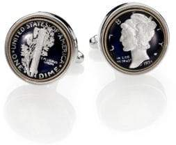 David Donahue Sterling Silver Mercury Dime Cuff Links