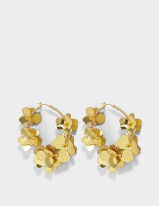 Oscar de la Renta Flower Garden Hoop Earrings in Gold Synthetic