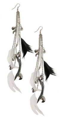Black and White Feather Chain Earrings