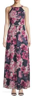 Ignite Evening Floral Halterneck Beaded Dress