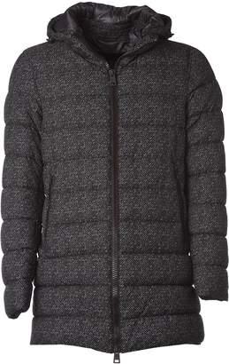 Herno Black Herringbone Padded Jacket With Hood