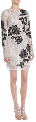 Naeem Khan Long-Sleeve Beaded-Embellished Cocktail Dress w/ Floral Applique