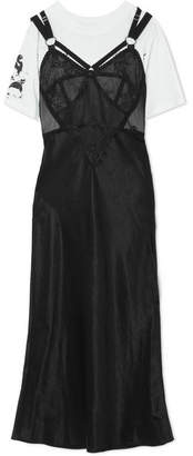 McQ Layered Lace And Tulle-trimmed Satin And Cotton-jersey Dress - Black