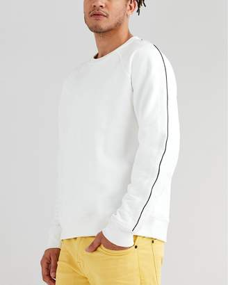 7 For All Mankind Long Sleeve Stripe Sleeve Sweatshirt in Optic White