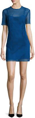 Diane von Furstenberg Short-Sleeve Chain Lace Mini Dress, Blue