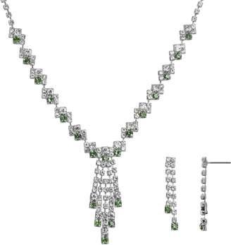 Crystal Allure Fringe Y Necklace & Linear Drop Earrings