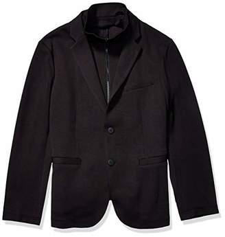 Armani Exchange A|X Men's Solid Double Knit Blazer with Zip Up Scuba Vest