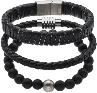 1913 Men's 3-Piece Black Leather Bracelet Set