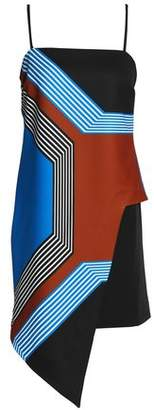Milly Asymmetric Printed Stretch Satin-Crepe Dress