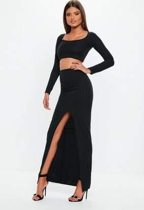 Missguided Black Ribbed Slit Front Maxi Skirt