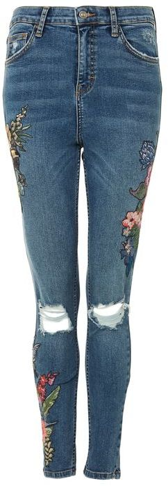 TopshopTopshop Moto tropical embroidered jamie jeans