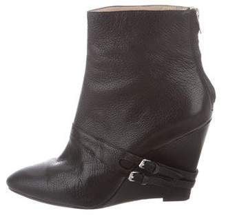 Elizabeth and James Leather Semi Pointed-Toe Ankle Boots