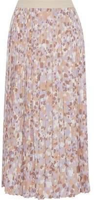 Agnona Pleated Printed Silk-Blend Crepe De Chine Midi Skirt