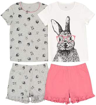 La Redoute COLLECTIONS Pack of 2 Bunny Rabbit Theme Short Pyjamas, 3-12 Years