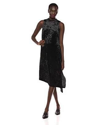 Adrianna Papell Women's Sleeveless Perforated Velvet Dress with Long Side Slit