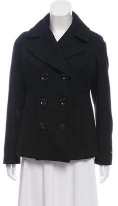 MICHAEL Michael Kors Wool Double-Breasted Peacoat Black Wool Double-Breasted Peacoat