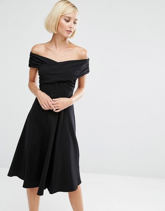 ASOS Midi Skater Dress with Bardot Neckline $38 thestylecure.com