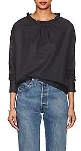 Atlantique Ascoli Women's Ruffled-Neck Cotton Poplin Top-Black