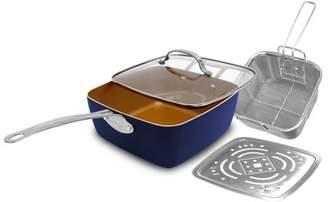 Gotham Steel 4 PCS/Set Non-Stick Copper Square Pan With Glass Lid Fry Basket Steam Rack- Blue