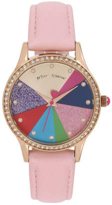 Betsey Johnson Multi-Colored Pie Chart Dial & Pink Strap Watch 39mm