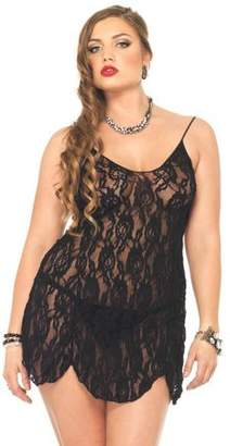 Leg Avenue Women's Plus Size Sexy Stretch Lace Chemise and G-String Panty 2 Piece Set