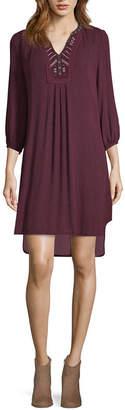 Artesia 3/4 Sleeve Embroidered Peasant Dress