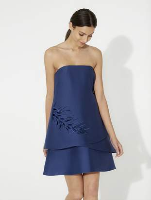 Halston Strapless Tiered Dress with Embroidery