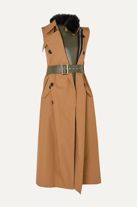 Sacai Faux Fur-trimmed Layered Gabardine And Leather Vest - Beige