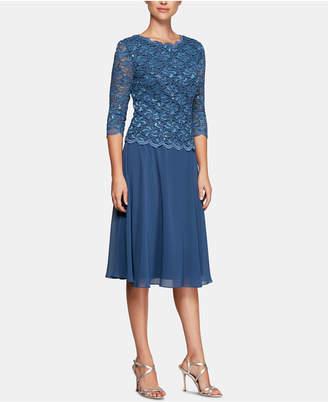 Alex Evenings Sequined Lace Contrast Dress