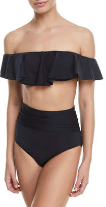 Trina Turk Off-the-Shoulder Ruffle Solid Swim Top