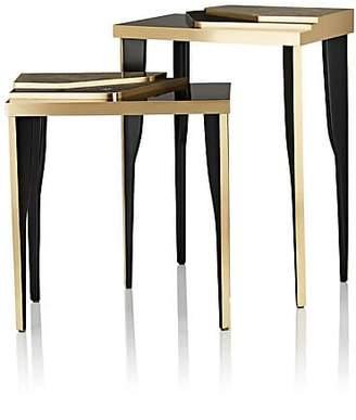 Ginger Brown Vela Shagreen & Shell Rectangular Side Table Set - Black