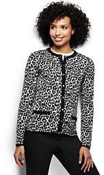Lands' End Women's Classic Supima Pocket Cardigan Sweater-Ivory/Black Floral