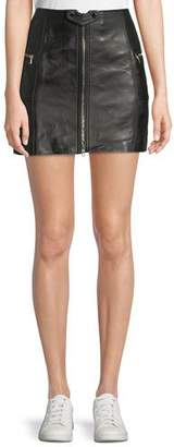 Jonathan Simkhai Zip-Front Leather Mini Skirt