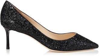 c2e417581c8 Jimmy Choo ROMY 60 Black Coarse Glitter Fabric Pointy Toe Pumps