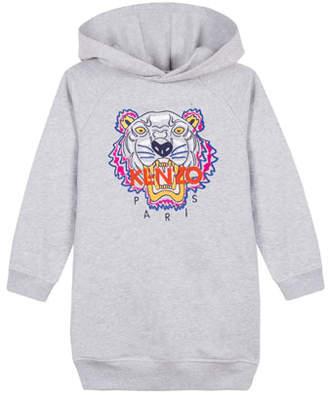 Kenzo Fleece Tiger Embroidered Hoodie Dress, Size 8-12